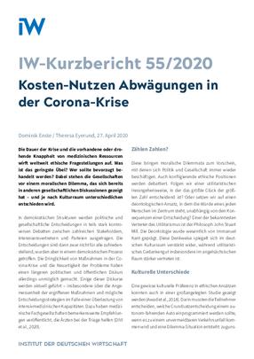 Kosten-Nutzen Abwägungen in der Corona-Krise